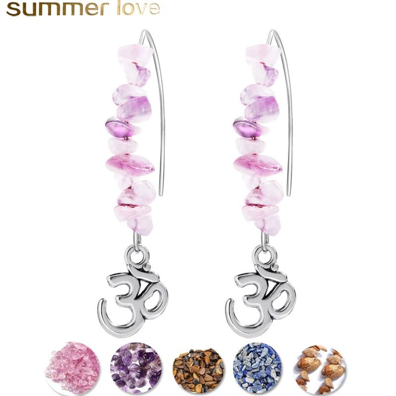 Natural Stone Dangle Earrings for Women Handmade OM Big Hook Earrings Pink Purple Blue Color Fashion Summer Jewelry