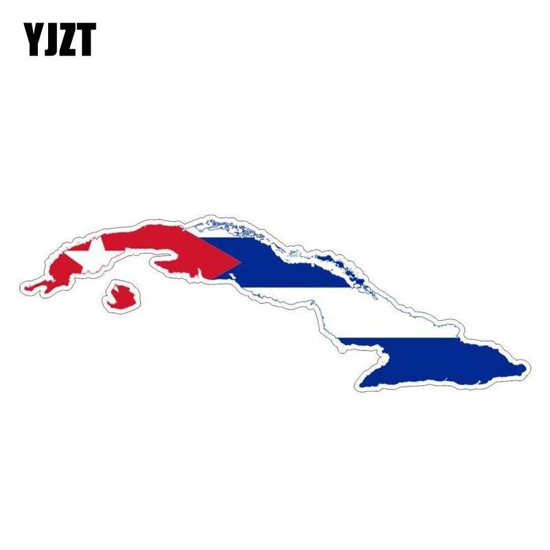 YJZT 15.2CM*5.2CM Cuban Flag Car Sticker Motorcycle Map Decal Car Accessories 6-0823