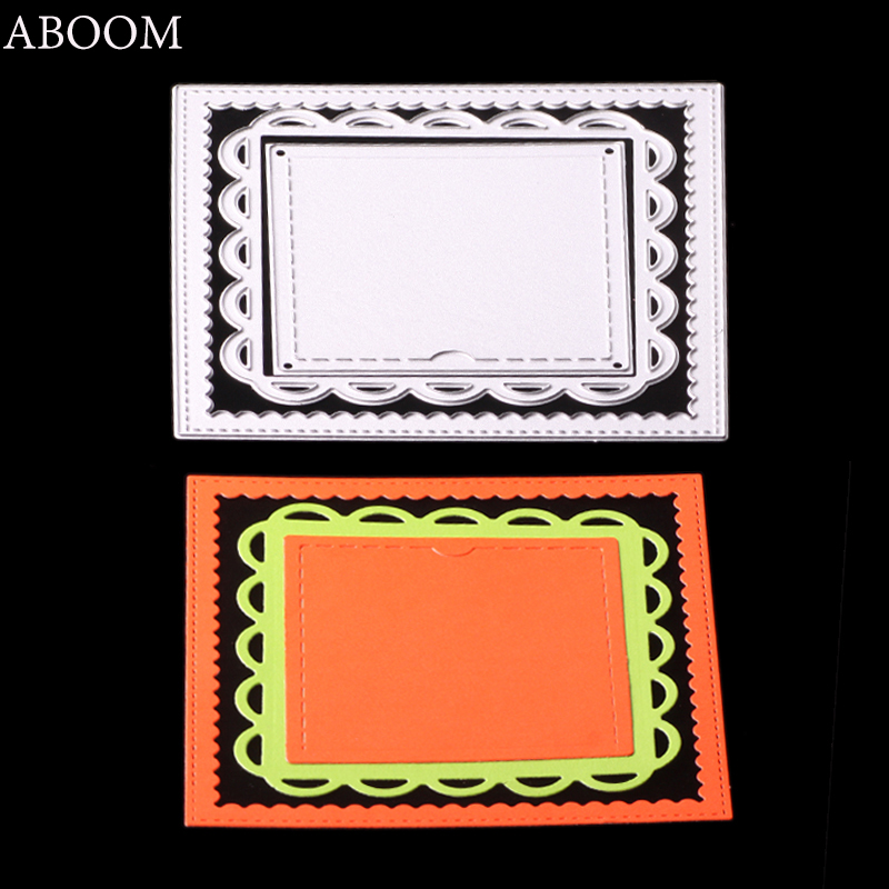 ABOOM Hot Sale Frame Rectangle Lace Metal Carbon Steel Die Cut Silver Embossing Folder Cutting Dies Stencil Used For Card Making ...