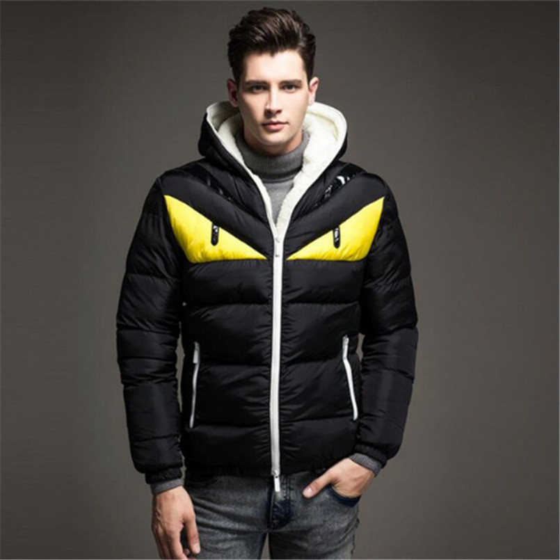 New Thick Bomber Jackets Men Fashion Stand Collar Male Slim Fit Parka Mens Casual Patchwork Cotton Padded Hooded Parkas Coat бомбер с цветами мужской