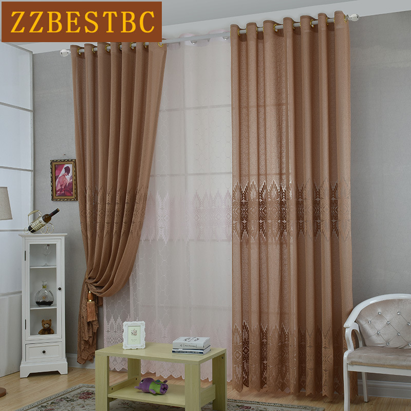 3 Colors Modern Classical Jacquard Lace Chiffon Curtains For Living  Room/Kitchen Customizable Tulle Curtains