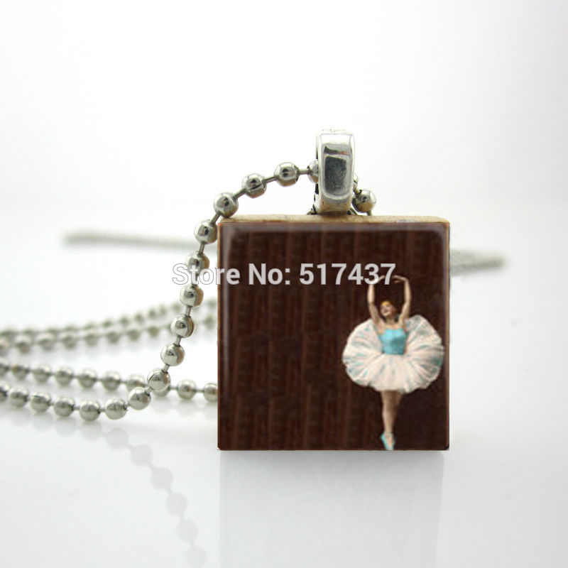 2015 New Scrabble Game Tile Jewelry Ballerina Tiny Dancer Pendant Ball Charm Personalized Jewelry