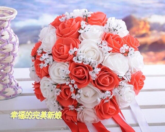 2017 Люкс Для Невесты Свадебный Букет Дешевые Новое Прибытие Белый и Красный Ручной Искусственный Свадебные Цветы Свадебные Букеты