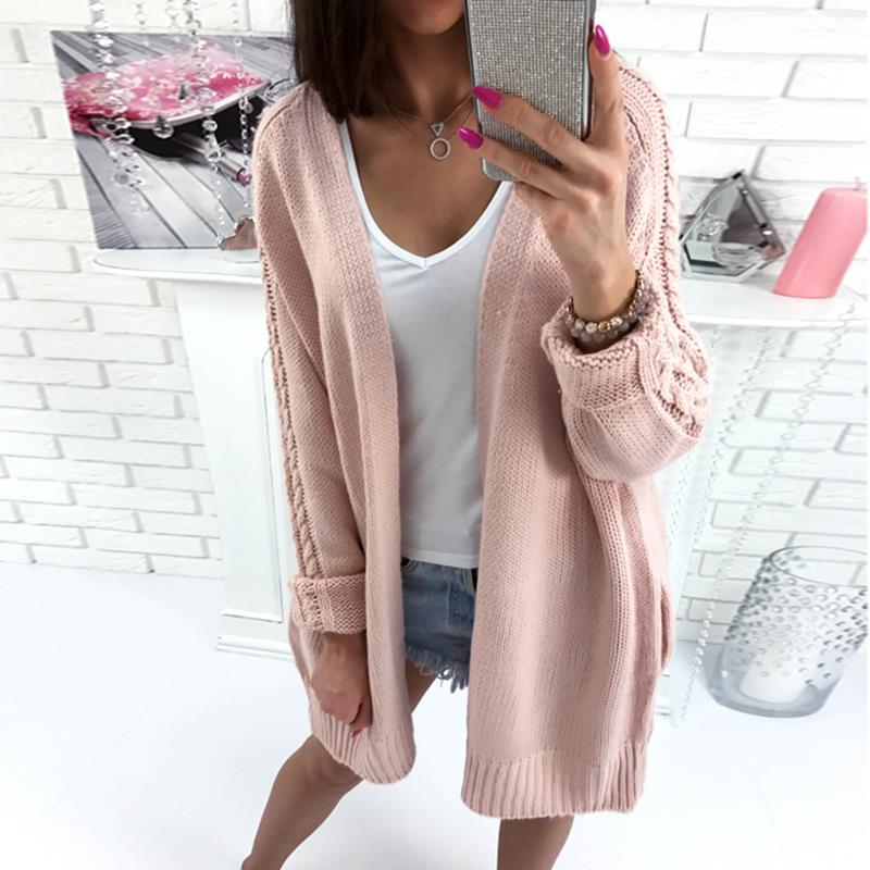 Open Stitch Top Women Sweater Long Knit Cardigan 2017 Autumn Winter Long Sleeve Casual Knitted Cardigan
