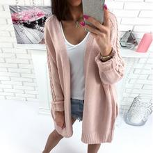 Open Stitch Top Women Sweater Long Knit Cardigan 2018 Autumn Winter Long Sleeve Casual Knitted Cardigan Female Sweater WS1968V
