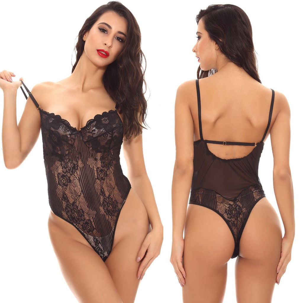 Plus Size M to <font><b>XXL</b></font> 3 Colors <font><b>Sexy</b></font> Lingerie Black Red White Lace Teddy <font><b>Body</b></font> Suit Women Solid Skinny Slim Bodysuit Bodystocking image