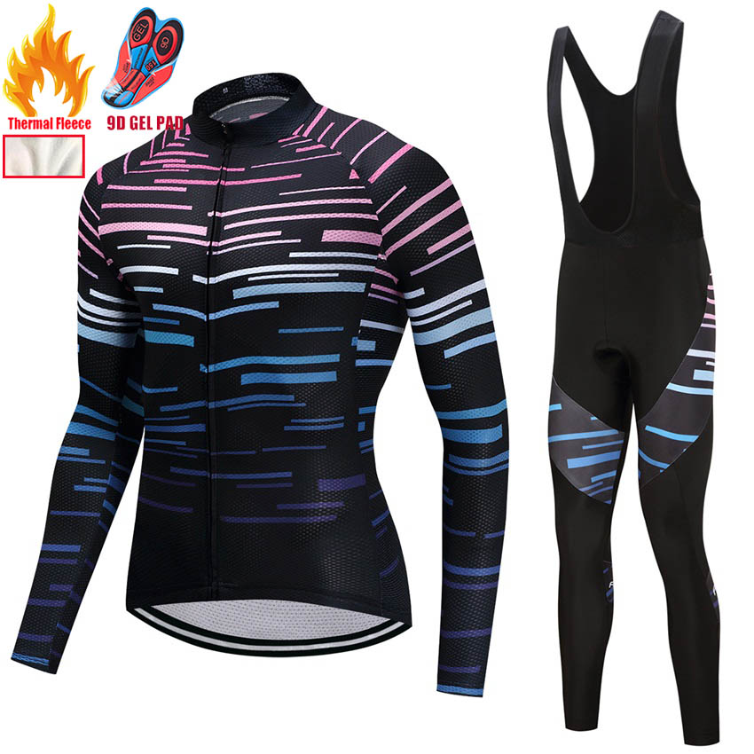 2018 Winter Cycling Clothing Thermal Fleece Long Maillot Ciclismo Hombre Cycling Jersey Mens Bike Fitness Sportswear