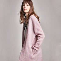 Mohair Cardigan Women Blended Knitted Solid Long Sleeves Sashes 2 Colors Coat Casual Lazy Style Simple