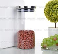 Beaucoup 37 fl. oz/1100 ml Résistant À La Chaleur En Verre Clair Bonbons Boîte Alimentaire w/Couvercle En Acier Inoxydable taille L