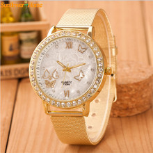 Newly Design  Women Ladies Rhinestone Butterfly Gold Stainless Steel Mesh Band Dress Quartz Wrist Watch 160921 Drop Shipping