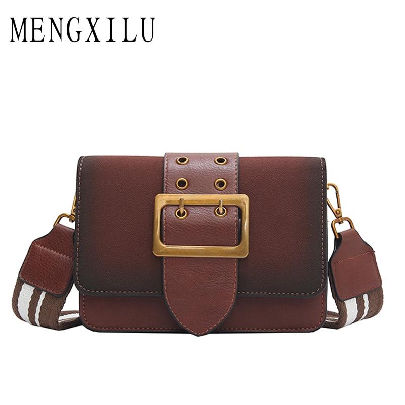 MENGXILU Fashion Bag Pu Leather Lock Women Shoulder Bag Wide Strap Ladies Handbag Small Flap Crossbody Bags For Women 2018 Sac