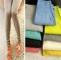 2017 Hot Coréia Do Sul exporta fios de algodão super elástico joelho remendo cor doces nove CALÇAS LEGGINGS Capris Boothose Leguin