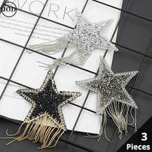 3 Pieces Set Embroidery Iron on Patches for Clothing Tassel Fringe Sequin Star Applique Patch Rhinestone  Scrapbooking Stickers