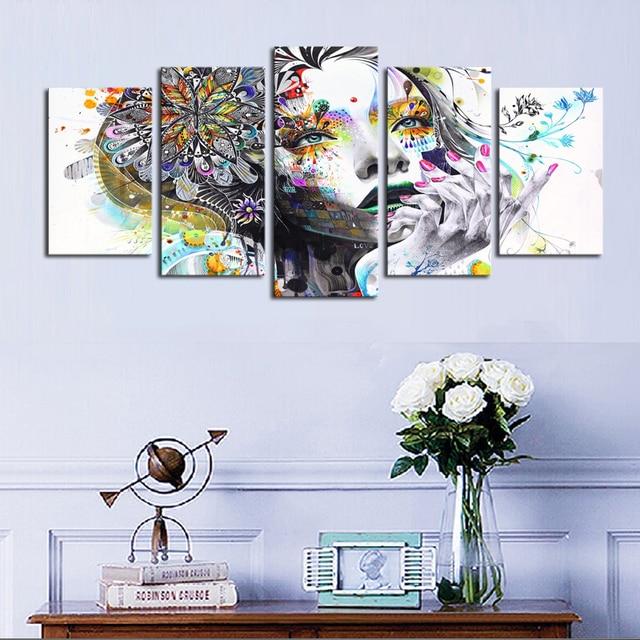 5 Panels Wandkunst Abstrakte Traum Bunten Frauen Leinwand Malerei ...