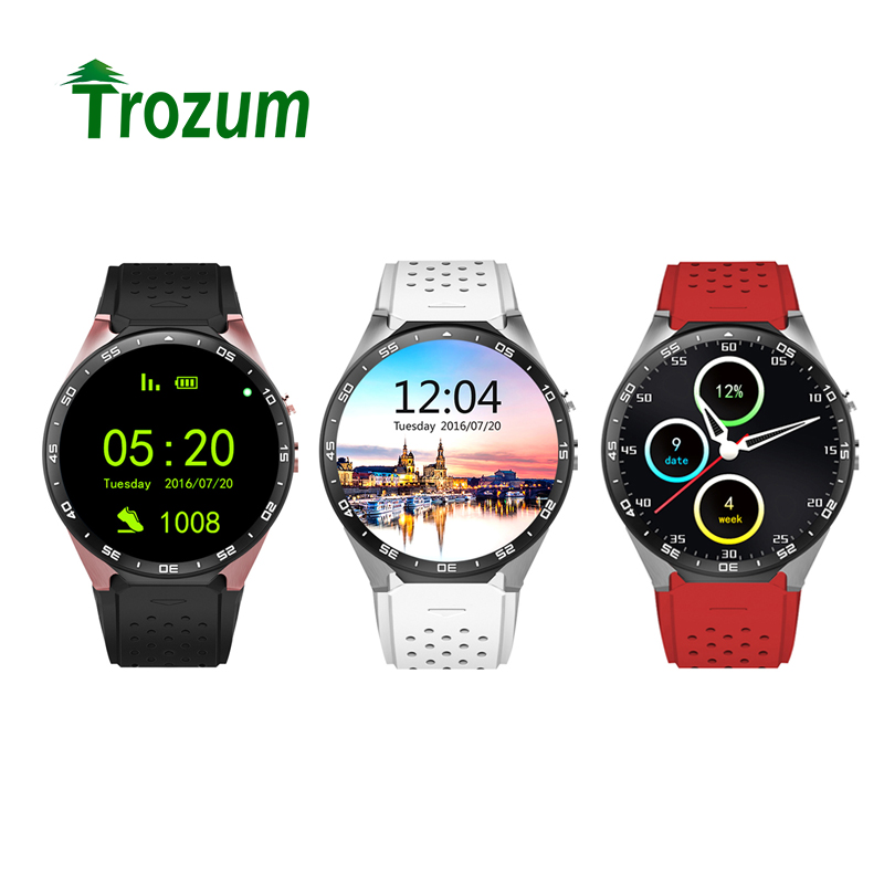 TROZUM KW88 Smart Watch MTK6580 Clock Smartwatch Android 5.1 Bluetooth 4.0 3G Heart Rate Monitor Quad Core 512MB RAM 4GB ROM smart watch smartwatch dm368 1 39 amoled display quad core bluetooth4 heart rate monitor wristwatch ios android phones pk k8