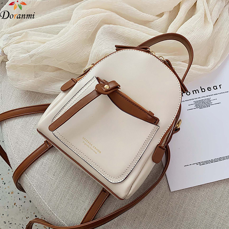 DORANMI Leather Backpack For Women 2019 Mini Backpacks Female Schoolbag Contrast Rucksack Shoulder Bag Square Mochila DJB460