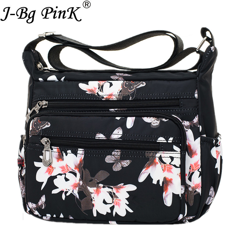 J-BG PinK New Design Handbags Women Flower Butterfly Printed Waterproof Nylon Shoulder Bags Retro Crossbody Bag Bolso sac a main
