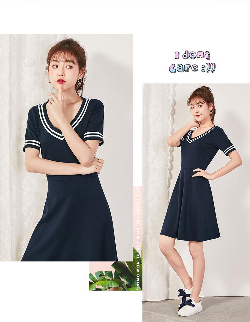 Semir 2018 Summer New Dress Female Slim V-neck Waist Temperament Dress Student Hit Color Pleated Lady Dress For Women 12