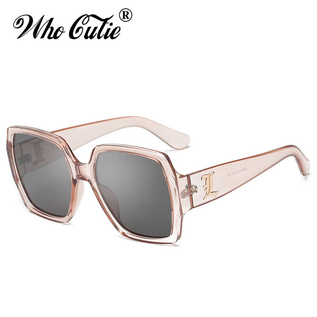 260b39c8f26a WHO CUTIE 2018 Oversized PINK Transparent Sunglasses Square CRYSTAL Frame  Vintage Flat Top Sun Glasses Clear