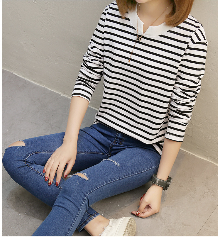 NFIVE Brand 2017 Women's Stripe Loose T-shirts Korean Autumn New Long Sleeved Large Size Shirt Quality Fashion Cotton T-shirt 25