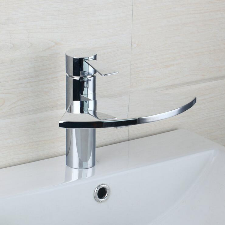 Copper basin faucet waterfall mixer water tap, Bathroom glass fan sink basin faucet chrome, Brass wash basin faucet hot and cold copper toilet wash basin faucet hot and cold bathroom sink basin faucet mixer water tap single hole basin faucet chrome plated
