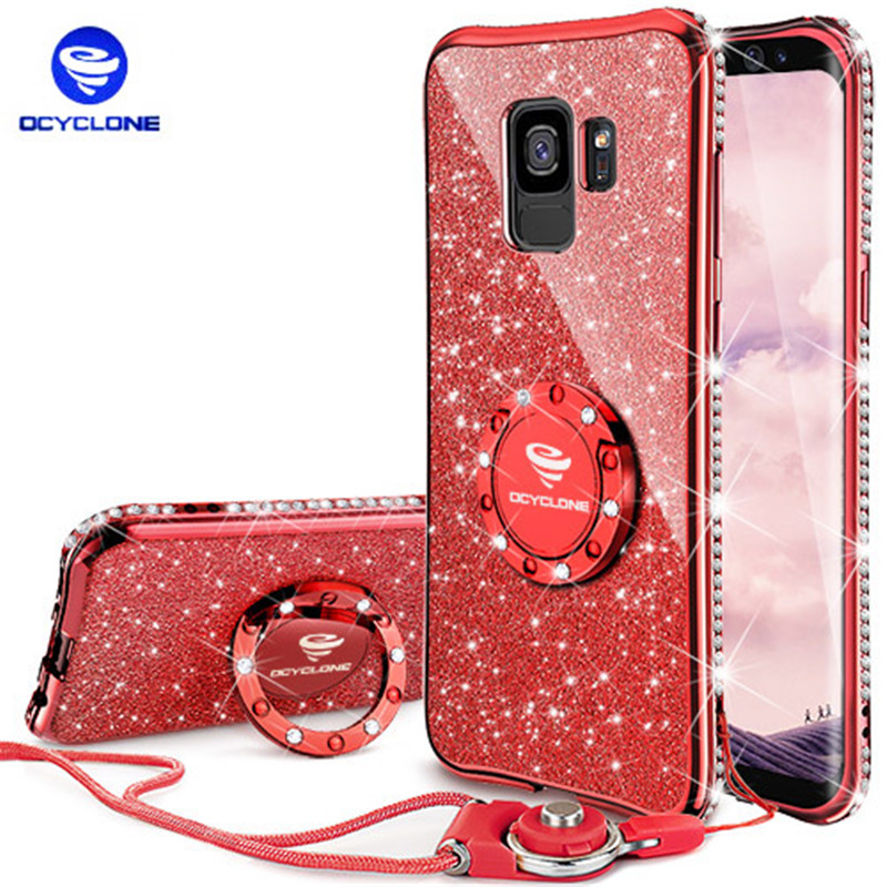 For Samsung Galaxy S9 Case Cover 360 Degree Kickstand Cover for Samsung 9 Puls TPU Silicone Bling Glitter Soft girl Cute Case ...