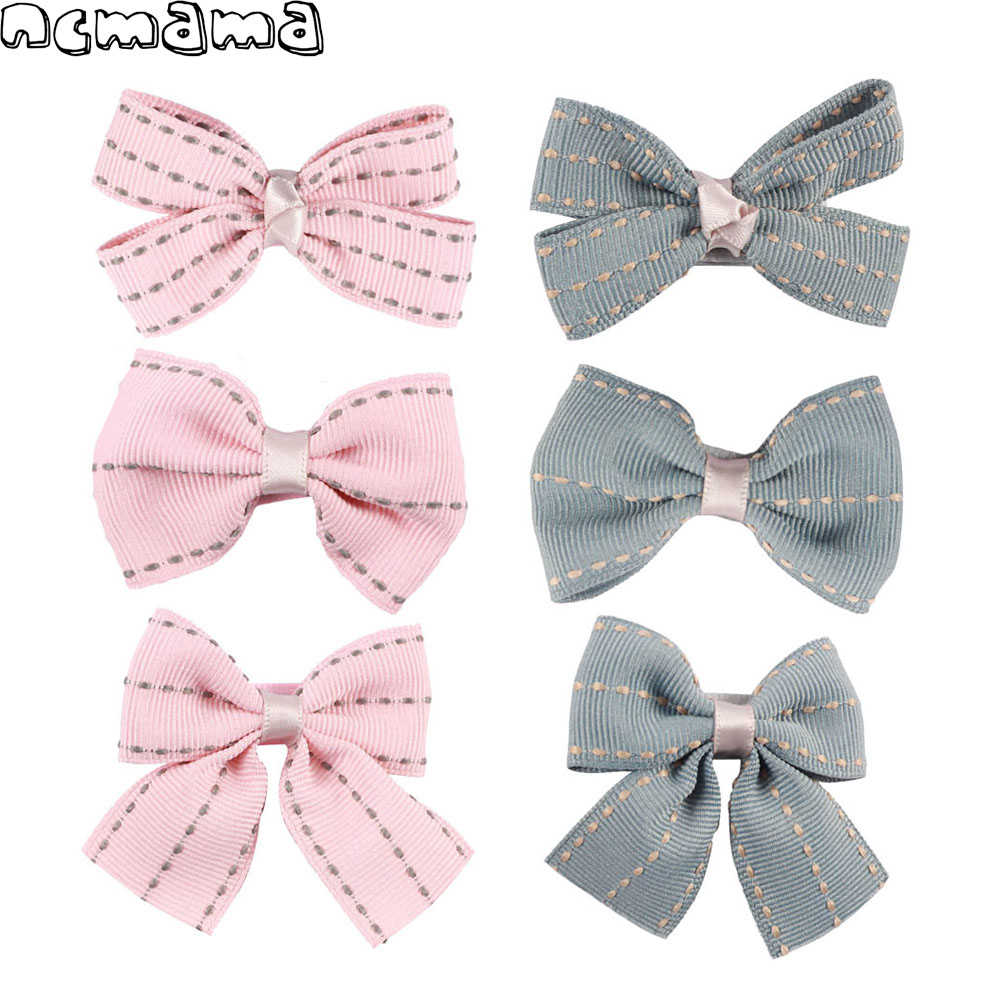 6 Pcs//Set Grosgrain Ribbon Hair Bow With Clip For Girls Kids Bowknot Accessories