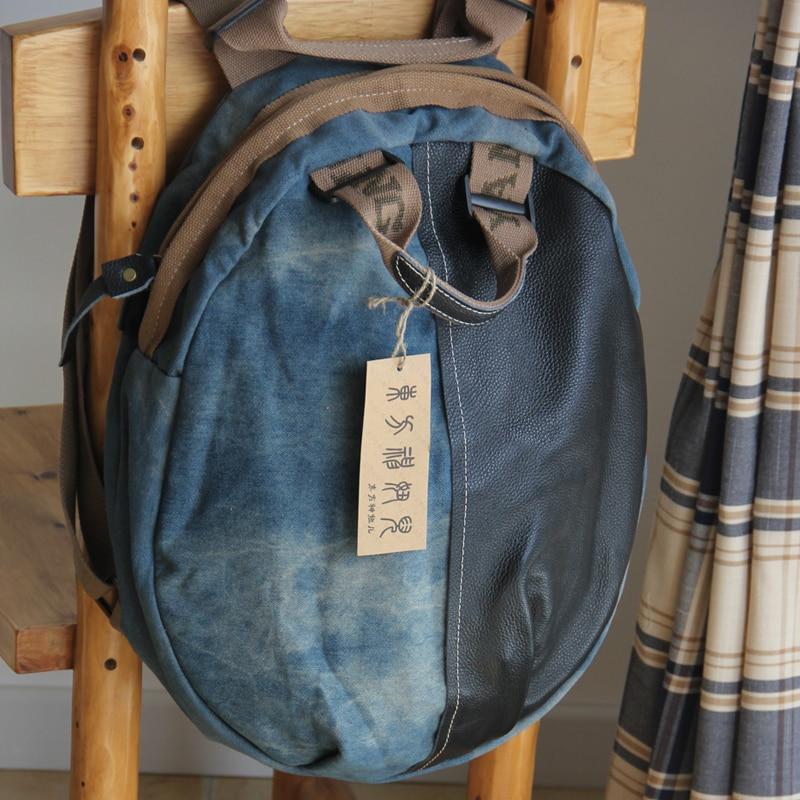 Denim-Rucksackfrauenrucksackgroße Segeltuch-große - Rucksäcke