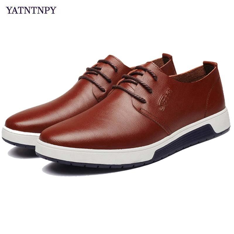 f1569a0fd23c41 Confortable Blue Pour Slipt Plat Mode De Véritable Nouveau Espadrilles  Chaussures Cuir black Yatntnpy brown Casual Homme ...