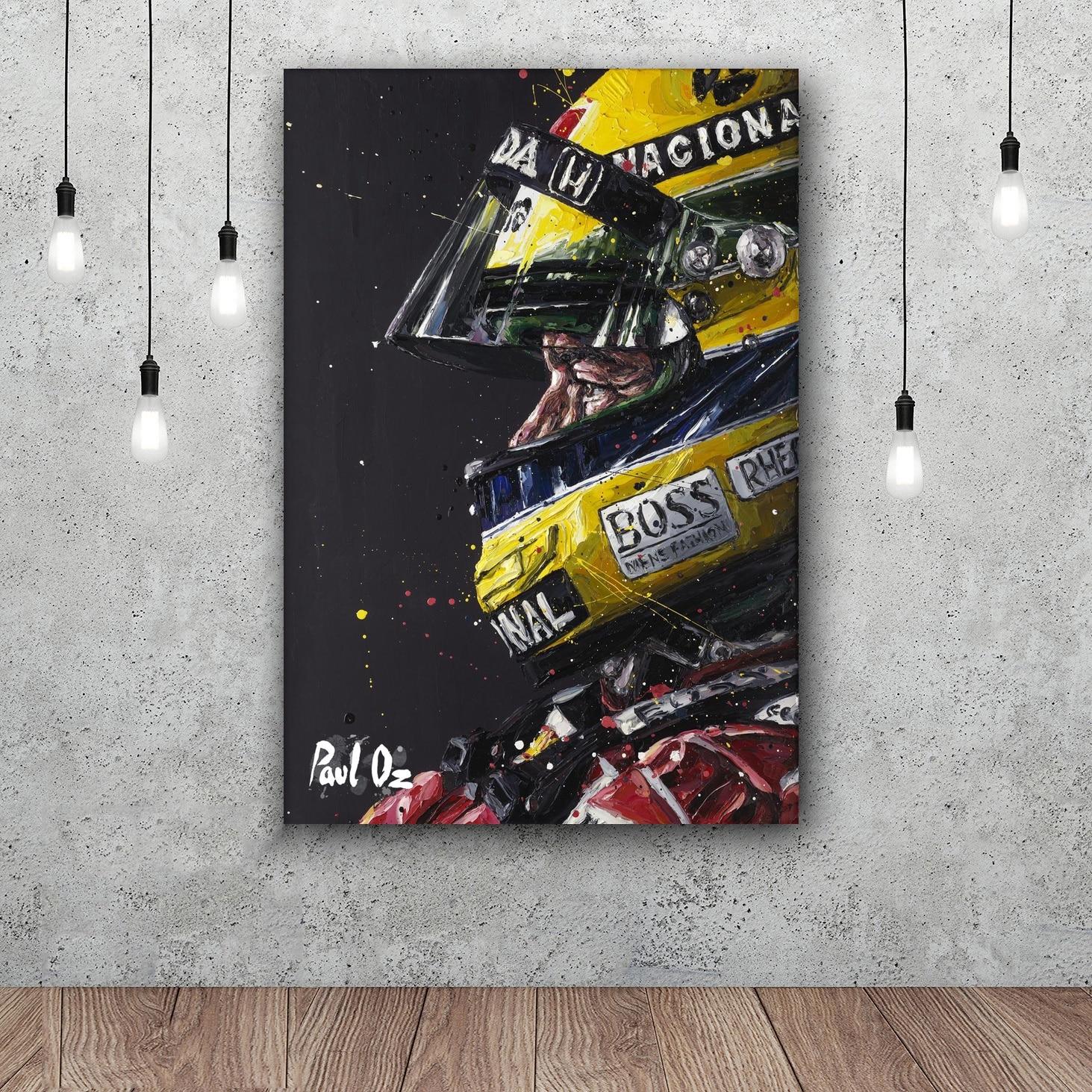 Ayrton Senna Da Silva F1 Racer At The Disco Art Silk Fabric Poster Wall Decor 12x18 24x36Inch