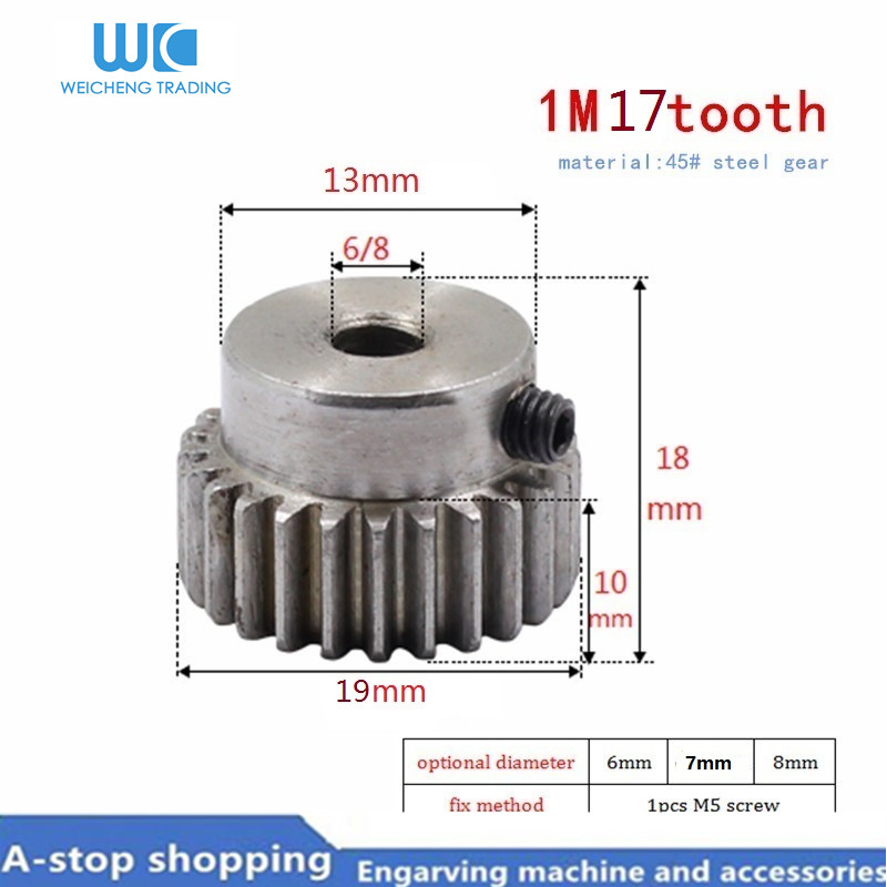 1pcs M1 Shaft Gear Bore 6/7/8mm 17T Module1 Pinion Motor Gear For RC Buggy Monster Truck Brushed Brushless Motor