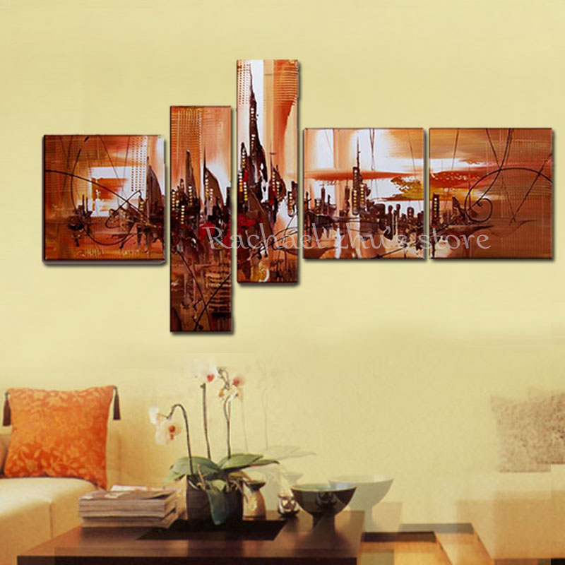 Large Hand Painted Abstract Cityscape Landscape 5 Panles Oil ...