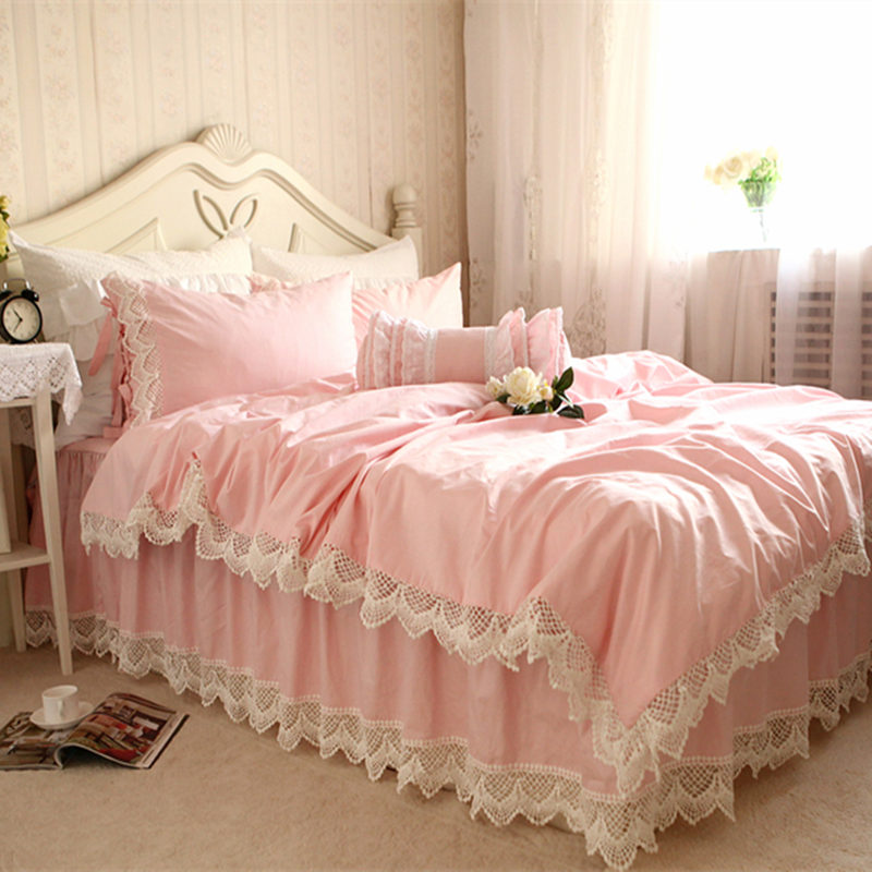 New European romantic bedding set cotton embroidered lace duvet cover wrinkle bedspread princess bedroom qulity bedding sets