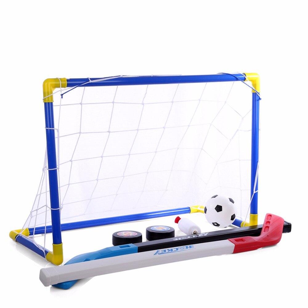 2 in 1 Outdoor/Indoor Bambini Sport Calcio e Hockey Su Ghiaccio obiettivi con Le Palle e Pompa Pratica Scrimmage Gioco Giocattolo Calcio Set