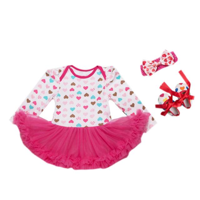 3 Unids por Set Bebé Recién Nacido Vestido de Patrón de Amor color de Rosa Caliente Zapatos Infantil Outfit Diadema