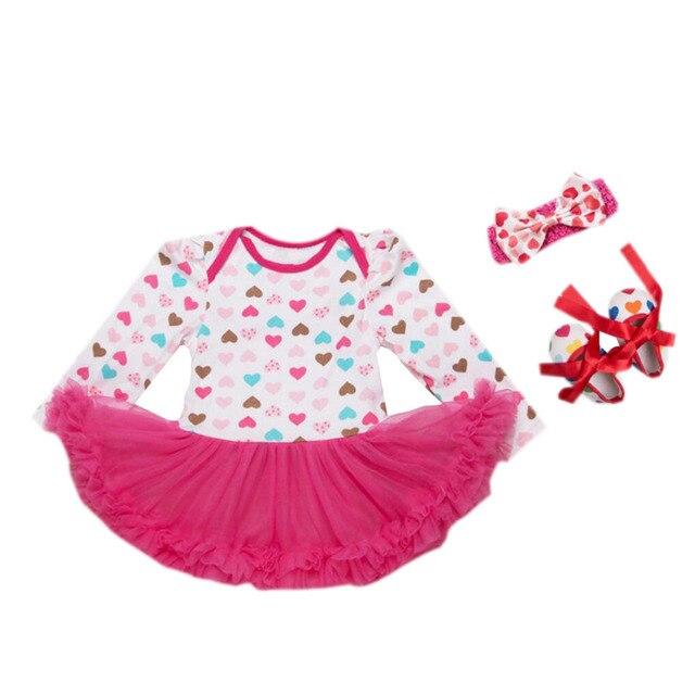 1723441dd1f1 3PCs per Set Newborn Baby Girl Dress Love Pattern Hot Pink Infant ...