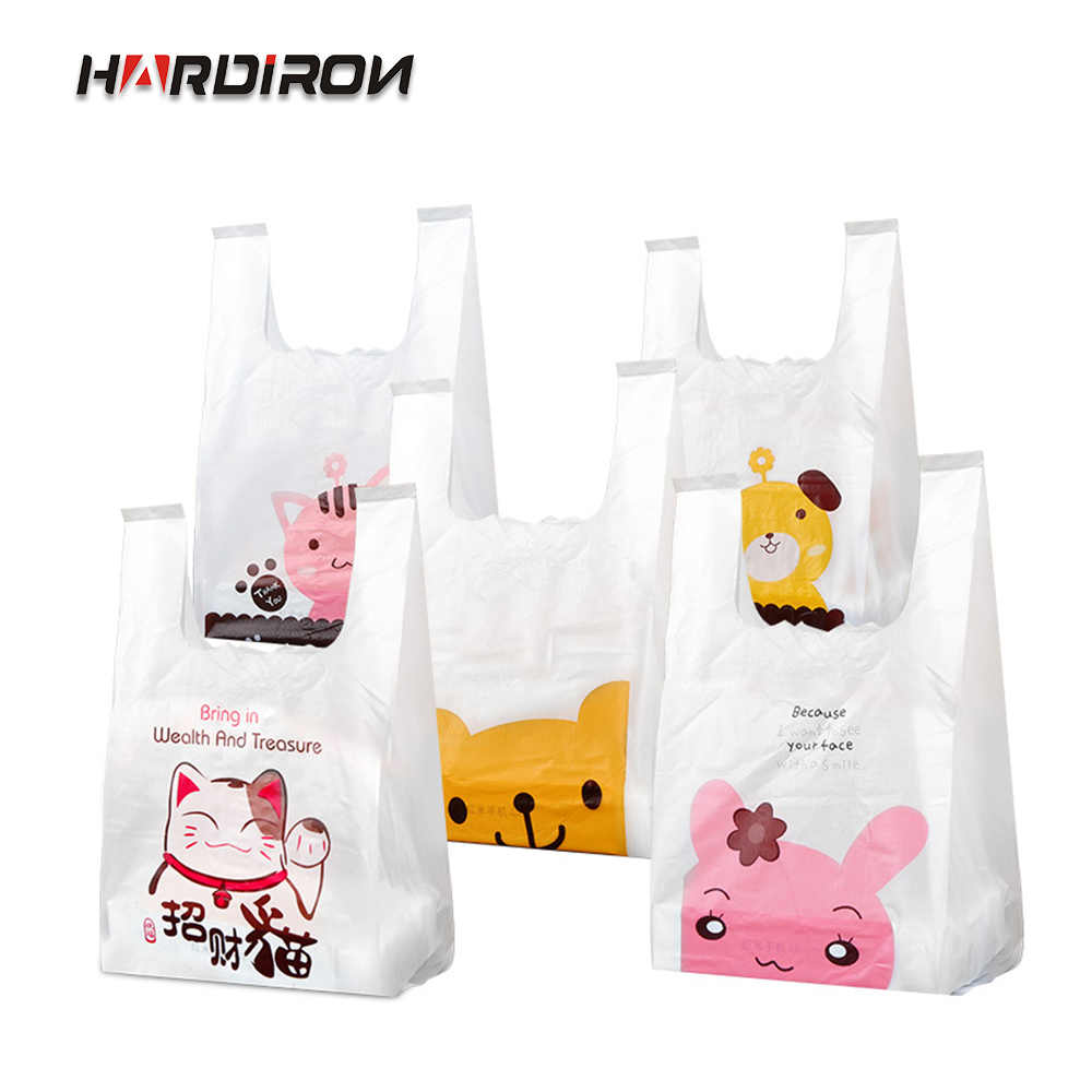 HARDIRON 50/100/200PCS 0.05mm Thicken Cartoon Gift Plastic Bag Supermarket Shopping Vest Bag Food Packaging Tote Sack