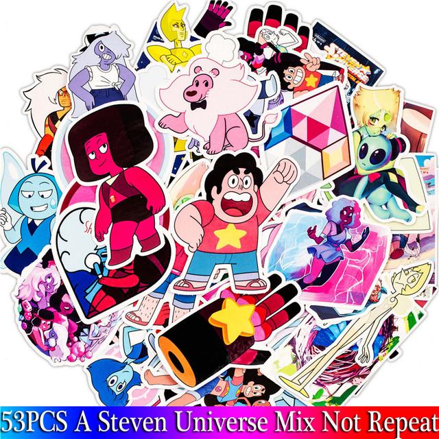 53PCS Pack 2018 New Lion Steven Universe Stickers Set Toy Sticker For Luggage Skateboard Laptop Motorcycle PVC Sticker