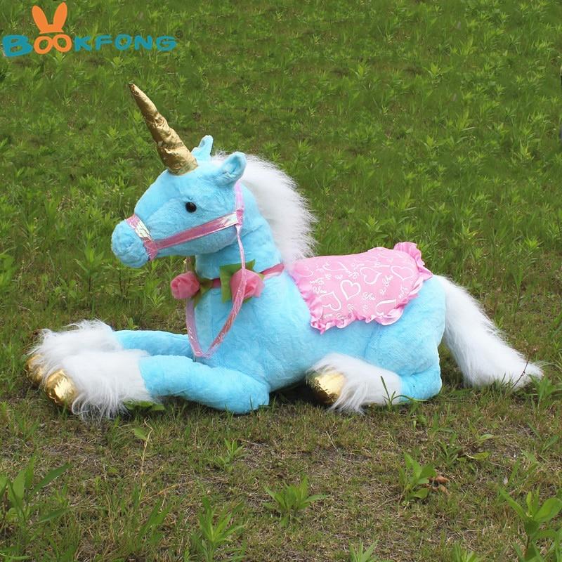BOOKFONG 85CM Large Stuffed Animals Lying Unicorn Plush Toy Blue Unicorn Doll High Quality Giift Photography Prop stuffed plush toy large 105 cm plush simulation lying tiger toy doll great gift b0667