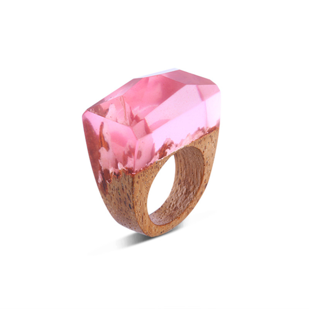 BOEYCJR Pink Color Wood Resin Rings Fashion Jewelry Novel World in ...