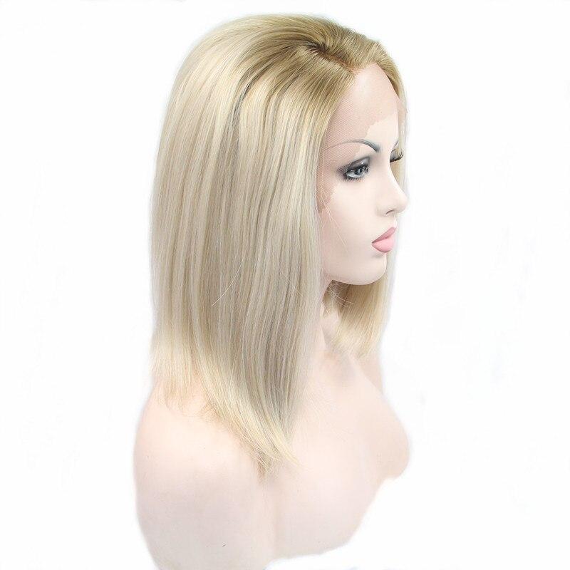 Pervado волосы светлые 613 Ombre 12 короткий боб прямой Синтетические волосы на кружеве Искусственные парики термостойкие Синтетические волосы па...