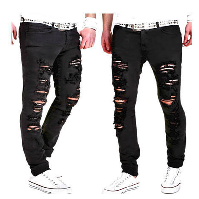 NEW 2018 Spring autumn black streetwear Ripped Hole Solid harem Casual hip hop Denim ripped jeans for men vaqueros hombre