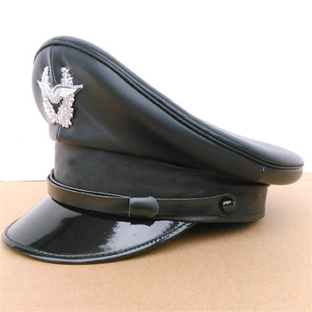 Germany Officer Visor Army Hat Cortical Military Police Leather Cap Cosplay Halloween Christmas Gift Spring Festival New Year