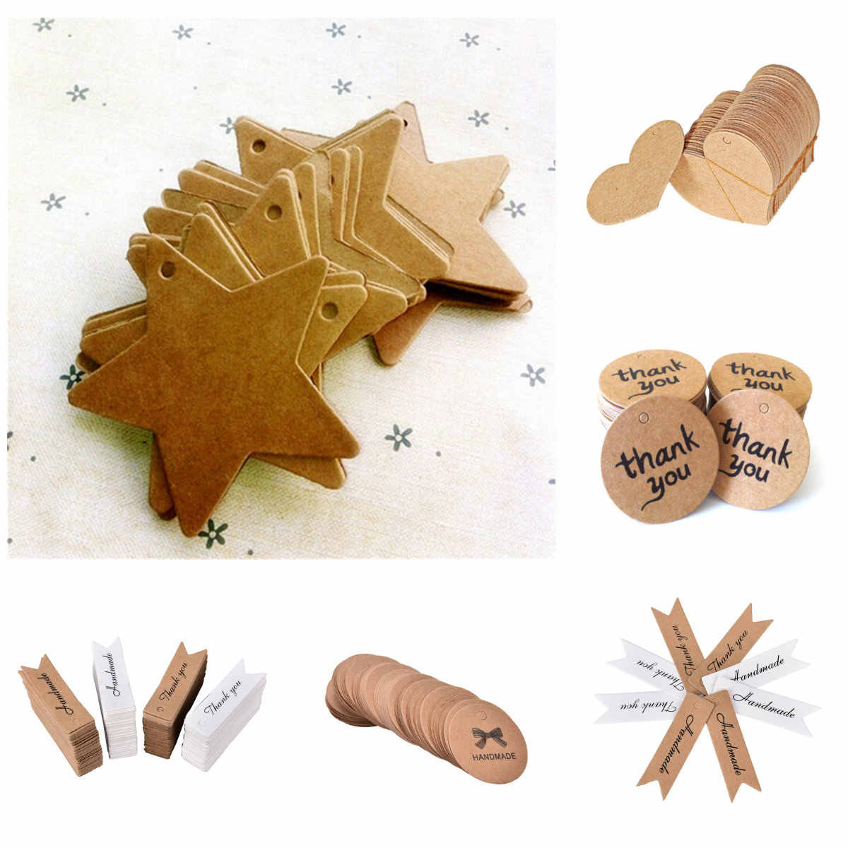 50pcs DIY Hang Tag Kraft Paper Tags Head Label Luggage Wedding Party  Blank Price Tag Kraft Gift