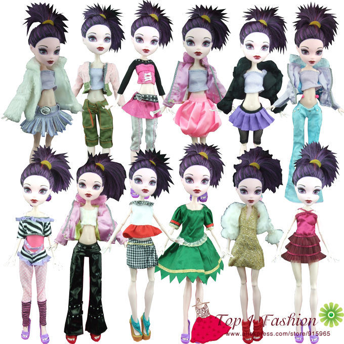 Free Shipping 10 Items Clothes And Dress Suit Outwear For Monster High Dolls And For Bratz Doll