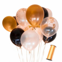 110 Party Balony 1kpl = 34 Złoto + 33 Biały + 33 Czarny + 10 Gold Confetti Balony + 250 metrów Złote Taśmy Lateksowe Balony Na Urodziny