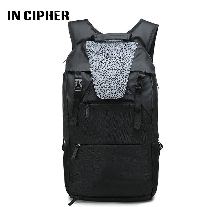 [In Cipher] Black Waterproof Laptop Backpack Men Brand Large Capacity Drawstring Multi-functional Leisure Travel Backpack
