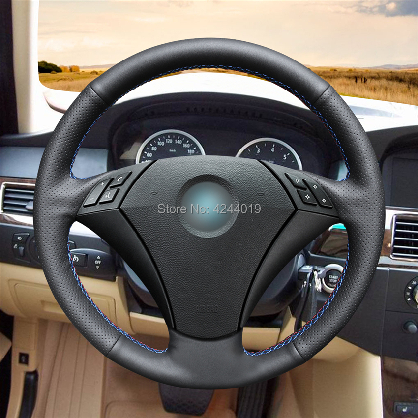 Steering Wheel Cover Steering Wrap Black Leather Hand Sewing DIY For <font><b>BMW</b></font> 530 523 523li 525 520li 535 <font><b>545i</b></font> <font><b>E60</b></font> image