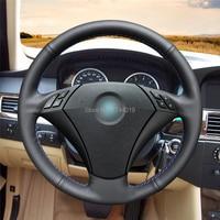 Steering Wheel Cover Steering Wrap Black Leather Hand Sewing DIY For BMW 530 523 523li 525 520li 535 545i E60