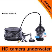 Free Shipping 50Meters Depth 360 Degree Rotative Underwater Camera with 12pcs of White or IR LED for Fish Finder & Diving Camera